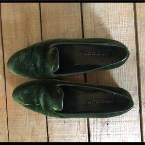 Ralph Lauren flats - green suede - size 8.
